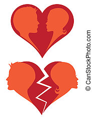 love and broken heart, vector - man and woman in love and...