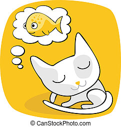Cute Cat Dreaming - Cartoon of a cat dreaming of fish