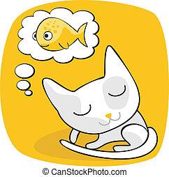 Cute Cat Dreaming - Cartoon of a cat dreaming of fish