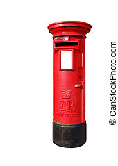 British postbox - typical red british postbox isolated on...