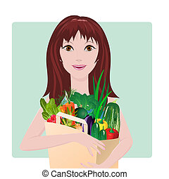 Girl with package of vegetables