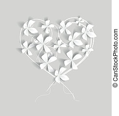 heart - white flowers studded with heart-shaped