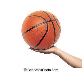 Hand with basketball ball isolated on white