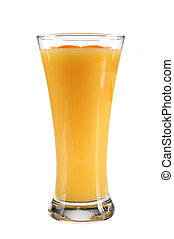 orange juice with slices of orange in the glass isolated on white