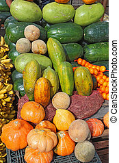 Fruit and vegetables at a roadside stand in Ecuador -...