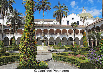 Courtyard at the church of San Francisco in Quito, Ecuador -...