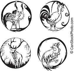 Round designs with birds and animals. Set of color vector...