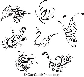 Stylized butterflies and birds. Set of black and white...