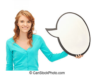 teenage girl with blank text bubble - picture of attractive...