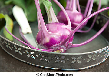 Kohlrabi - Outdoor shot of some fresh cabbage of kohlrabi on...