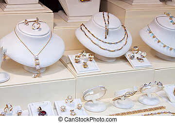 Jewelry shop - counter with variety jewelry in store window