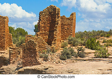 Pueblo Indian sandstone dwellings, - Hill-top Pueblo Indian...