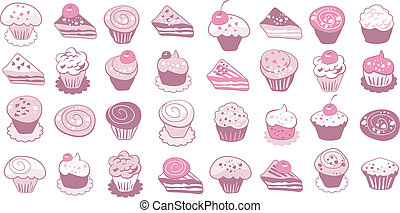 Cake Icons Set - Collection of cute cakes and pastry icons