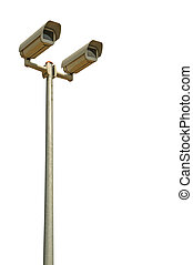 Security cameras - two video surveillance cameras on a pole...