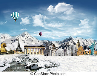 World landmarks in the snowfield