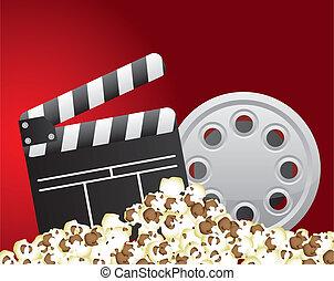 cinema vector - clapper board with film stripe and popcorn...