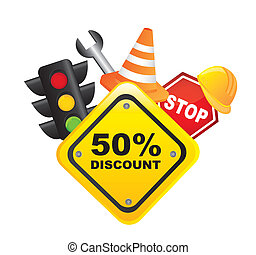 traffic sale icons with yellow sign over white background....