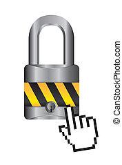 padlock with cursor