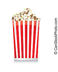 pop corn with shadow over white background vector...