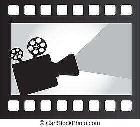 movie projector over film strip vector illustration