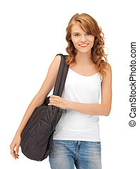 teenage girl in blank white t-shirt with bag