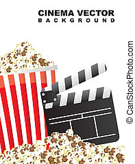 pop corn with clapper board, cinema vector illustration