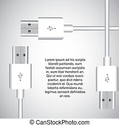 usb vector - white usb with space for copy. vector...