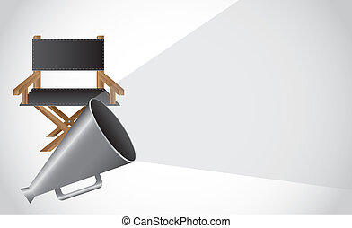 director chair with megaphone with space for copy. vector