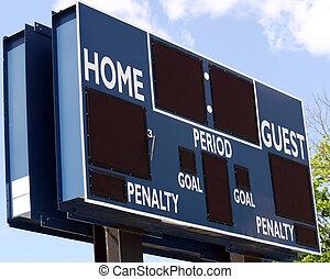 Scoreboard - A blue scoreboard in the outfield of a baseball...