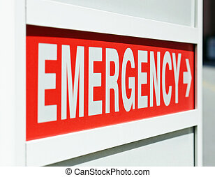 Emergency Sign - A red Emergency sign at the entrance to a...