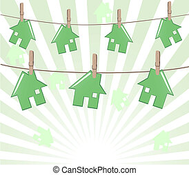Vector illustration of the houses on rope on sunny background. Real estate concept