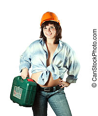 girl in hardhat with tool box - beauty girl in hardhat with...