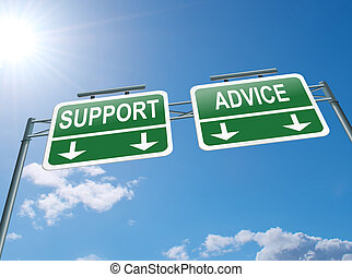 Support and advice. - Illustration depicting a highway...