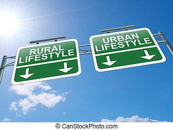 Rural or urban lifestyle - Illustration depicting a highway...