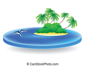 tropical island - isolated sea field with tropical island...