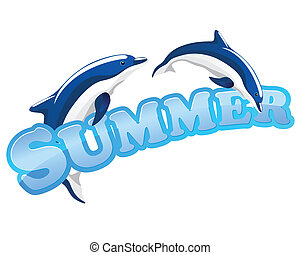summer sign with dolphins - summer sign with couple...