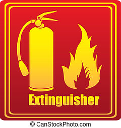 Silhouette of fire extinguisher with flare, red background....