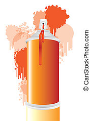 Orange spray bottle with paint stains, vector illustration