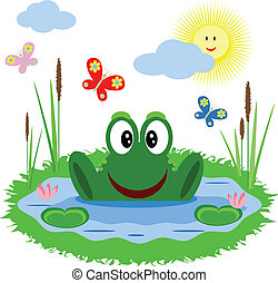 Funny frog is in the pond