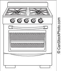 Illustration of a stove, isolated on white background,...