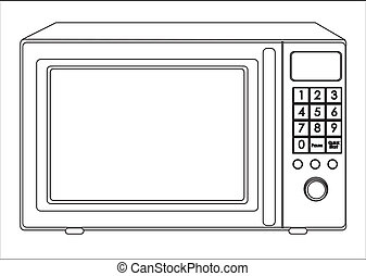 Illustration of a microwave, isolated on white background,...