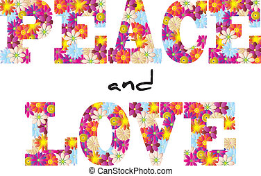 peace and love - illustration of peace and love text with...