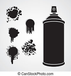 Silhouette spray bottle with paint stains, vector...