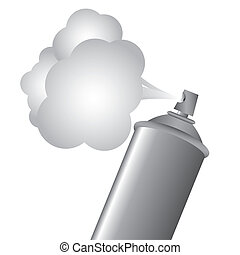 spray bottle - Gray spray bottle with gas cloud, vector...