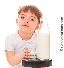all right - portrait of a young girl with a bottle of milk