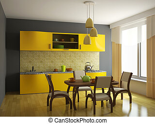 Kitchen with orange furniture and a window