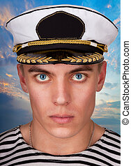 Always on guard - Portrait of a military sailor in style...