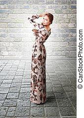 Elegancy stylish lady wearing glamorous fashion dress -...