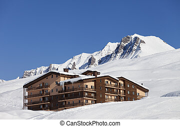Hotel in snowy mountains Caucasus Mountains, Georgia Ski...