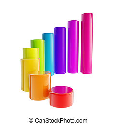 Rainbow colored bar graph, glossy, isolated